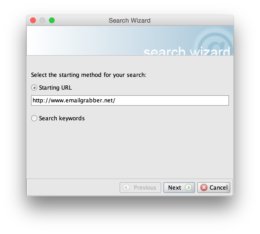 Email Grabber Search Wizard screenshot