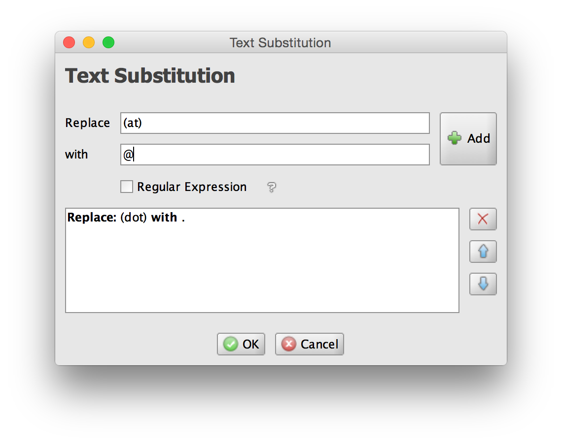 Text substitution window screenshot
